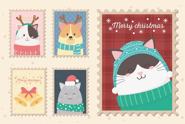 Kolekcja uroczystości wesołych świąt znaczki