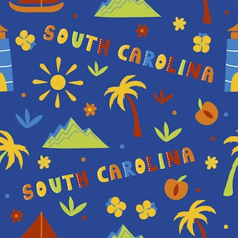 Kolekcja usa. ilustracja wektorowa tematu karoliny południowej. symbole stanu