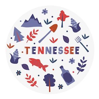 Kolekcja usa. ilustracja wektorowa tennessee. symbole stanu - okrągły kształt