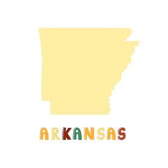 Kolekcja usa. mapa arkansas - żółta sylwetka. napis w stylu doodling