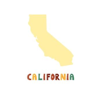 Kolekcja usa. mapa kalifornii - żółta sylwetka