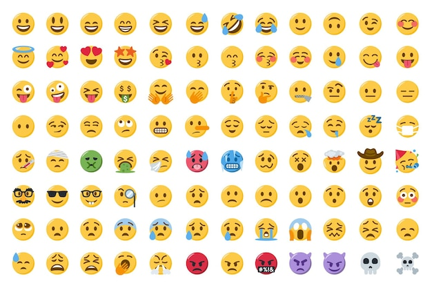Kolekcja uśmiechniętych twarzy emoji lub zestaw uroczych emotikonów