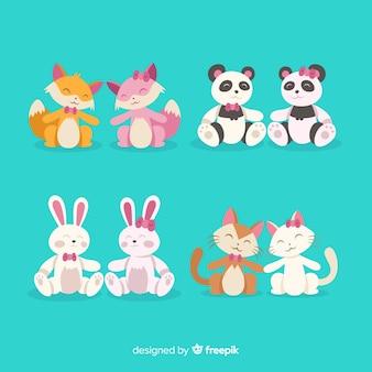 Kolekcja valentine cute para zwierząt