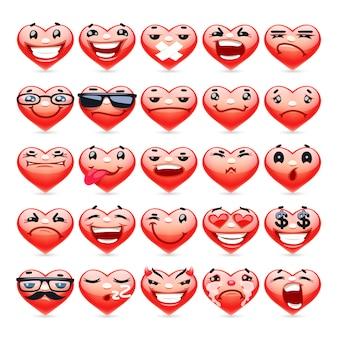 Kolekcja Valentine Heart Emoticons Premium Wektorów