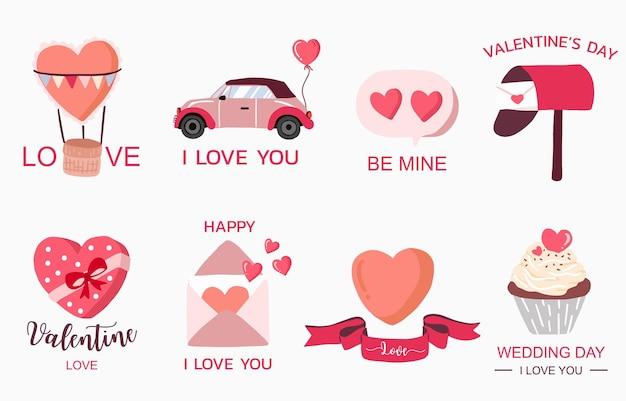 Kolekcja valentine ładny obiekt