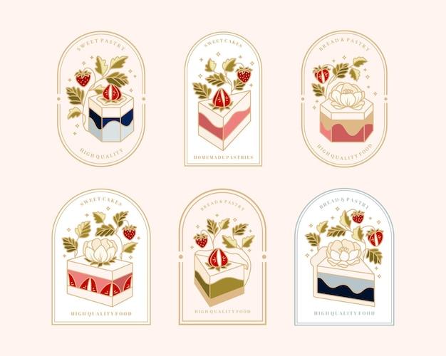 Kolekcja vintage cake logo i etykiety żywności z truskawkami