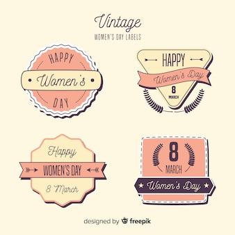 Kolekcja vintage dzień kobiet odznaka