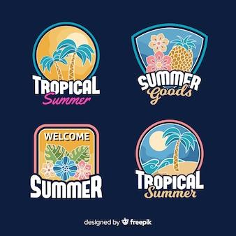 Kolekcja vintage etykiety lato płaskie
