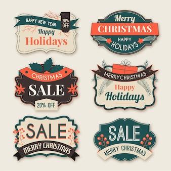 Kolekcja vintage etykiety świąteczne