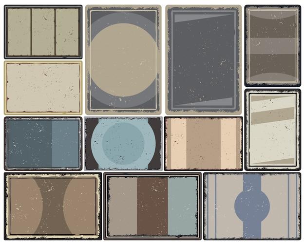 Kolekcja vintage kolorowych ramek o różnych kształtach geometrycznych na broszurę plakatową i projekt broszury na białym tle