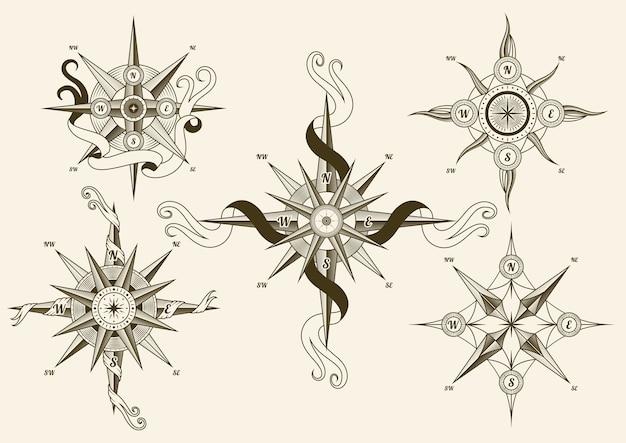 Kolekcja vintage kompas morski.