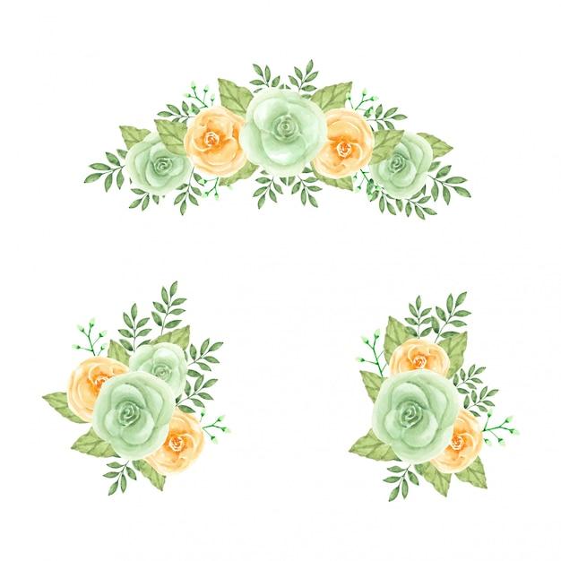 Kolekcja vintage kwiatowy pomarańczowy pomarańczowy róż na białym tle kolekcja