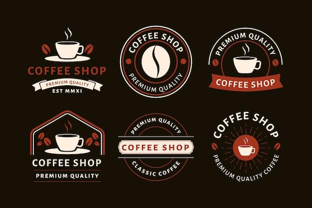 Kolekcja vintage logo kawiarni