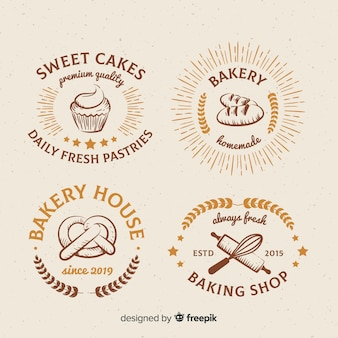 Kolekcja vintage logo piekarni