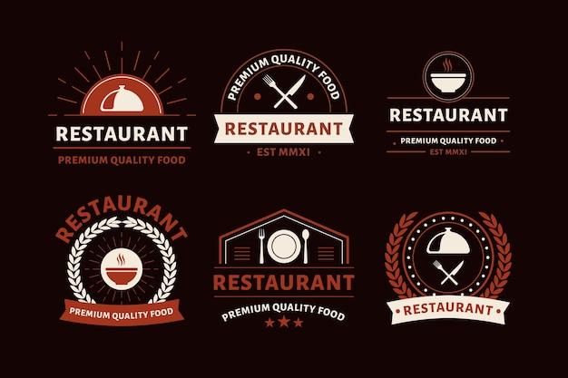 Kolekcja vintage logo restauracji