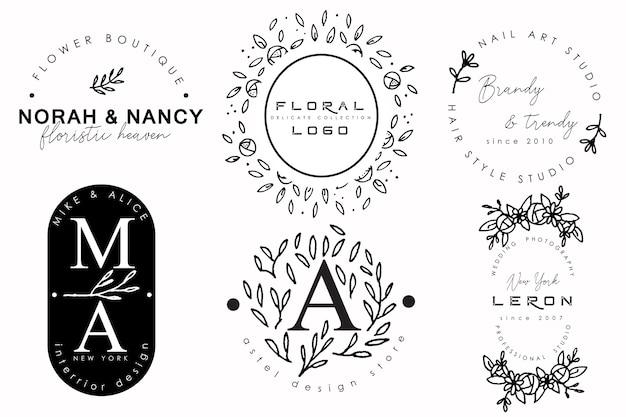 Kolekcja vintage logo z kwiatowymi ornamentami