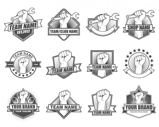 Kolekcja vintage logo zestaw z motywem dłoni. pięść do góry