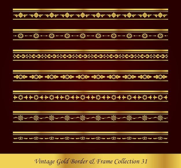 Kolekcja vintage luxury gold border