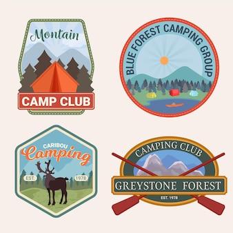Kolekcja vintage odznaki camping & adventure