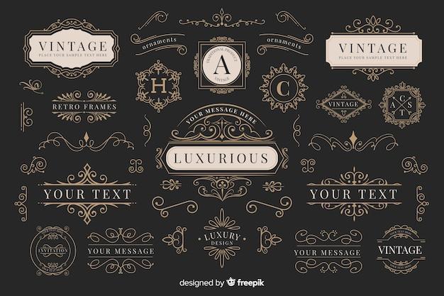 Kolekcja vintage ozdobnych logo