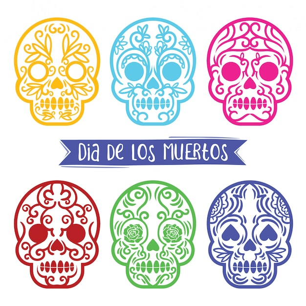 Kolekcja vintage skull day of the death z ornamentem wewnątrz