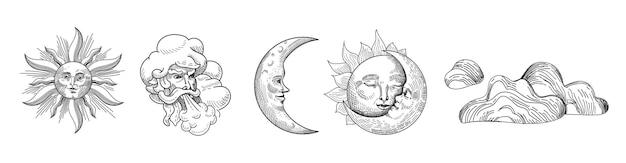 Kolekcja vintage słońce i księżyc. projekt w stylu orientalnym z gwiazdami i niebiańskimi symbolami astrologicznymi do tkanin, tapet, dekoracji. ilustracja wektorowa