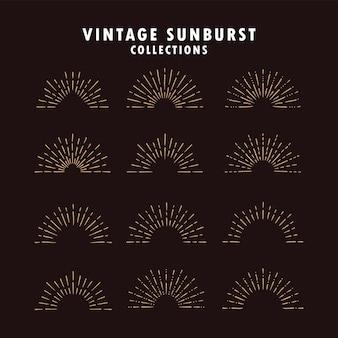 Kolekcja vintage sunburst w różnych kształtach