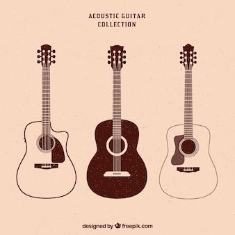 Kolekcja vintage trzech gitar akustycznych