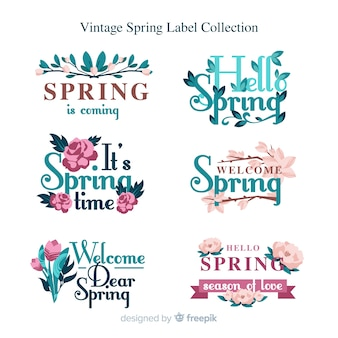 Kolekcja vintage wiosna etykiety