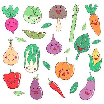 Kolekcja warzyw kawaii ze sztuką doodle