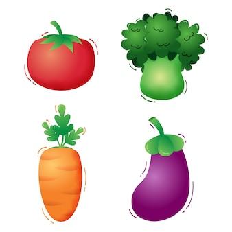 Kolekcja warzyw: pomidor, brokuły, marchewka i bakłażan. ilustracji wektorowych