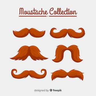 Kolekcja wąsów movember w różnych kształtach w płaskiej konstrukcji