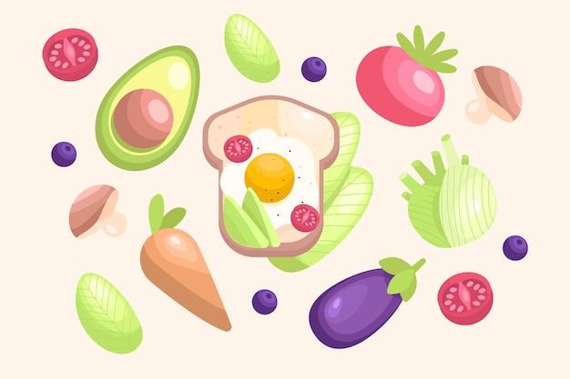 Kolekcja wegetariańskich potraw o płaskiej konstrukcji