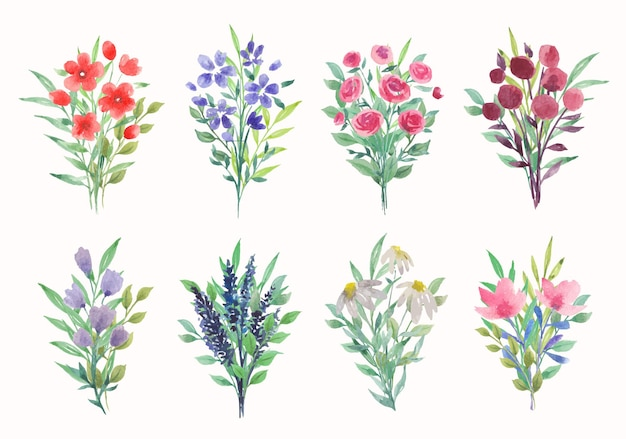 Kolekcja wektor akwarela bukiety kwiatowe