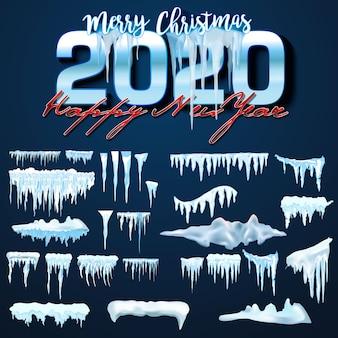 Kolekcja wektor czapki śniegu, stos, sople, izolowane, przezroczyste, lód, śnieżka i zaspa śnieżna.