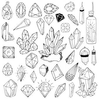 Kolekcja wektor kryształów czarnej linii lub gemson biały