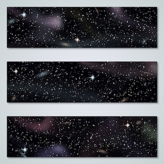 Kolekcja wektor panoramiczne tło przestrzeni