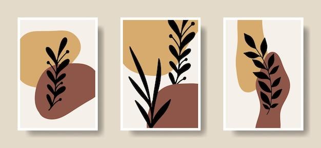 Kolekcja wektor ręcznie rysowane abstrakcyjny kształt z liściem sillhouette do druku