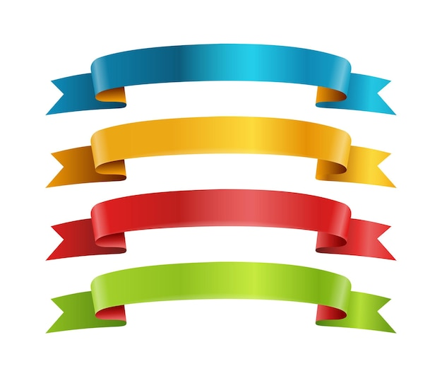 Kolekcja wektor wstążki różnych kolorów. szablon tekstu. kolekcja banerów na białym tle