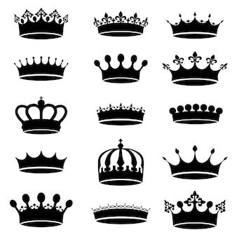Kolekcja wektor wzór antyczne korony, proste ikony czarno-białe