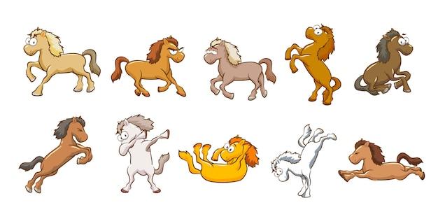 Kolekcja wektor zestaw koni