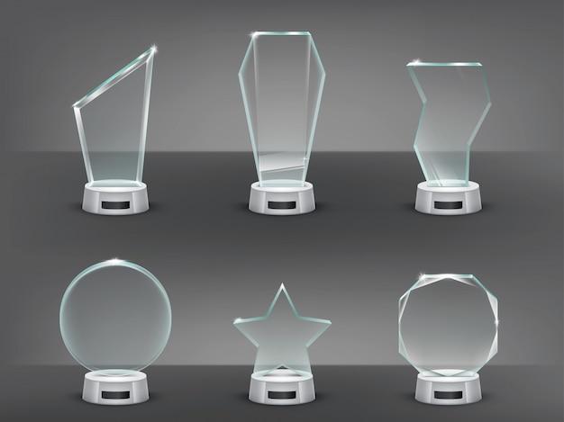 Kolekcja wektora ilustracją nowoczesnych trofeów szklanych, nagród