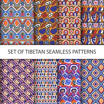 Kolekcja wektora kolorowe pikseli wzorów bez szwu z ornamentem etnicznej tybetu