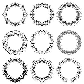 Kolekcja wektora okrągłe ramki zabytkowe