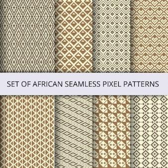 Kolekcja wektora pikseli bez szwu desenie z afryki ornamentem etnicznej i plemiennej