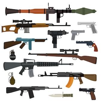 Kolekcja wektorów broni. pistolety, pistolety maszynowe, karabiny szturmowe i snajperskie, nóż, granat