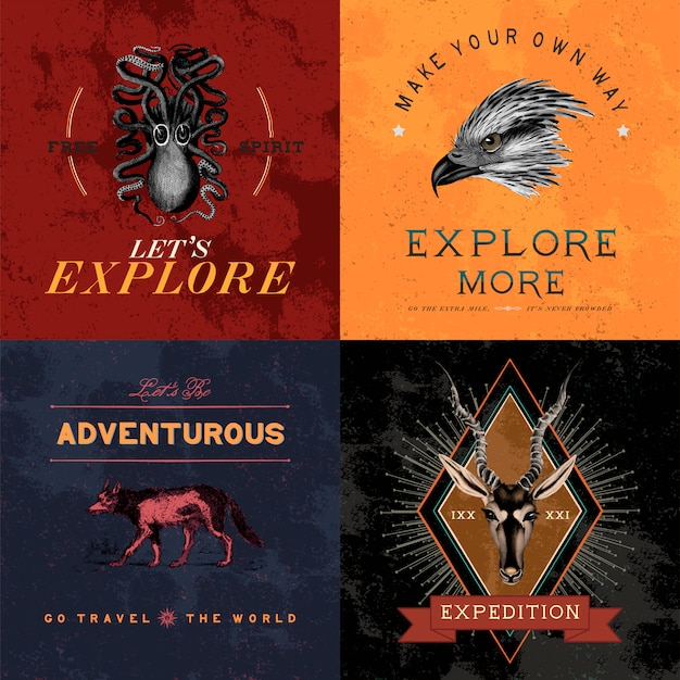 Kolekcja wektorów przygód logo projektu