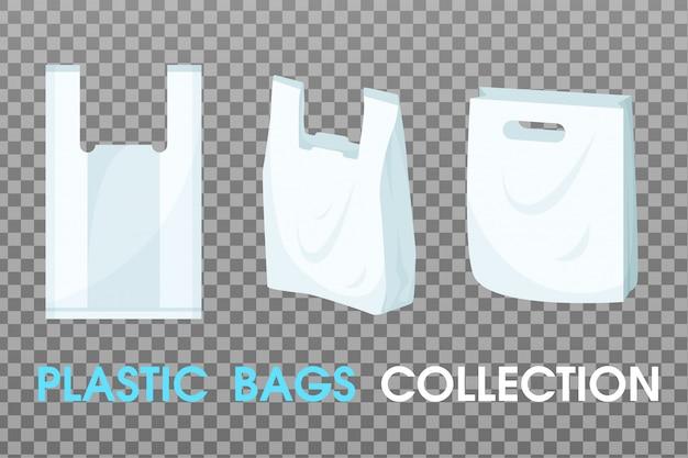 Kolekcja wektorów toreb plastikowych.