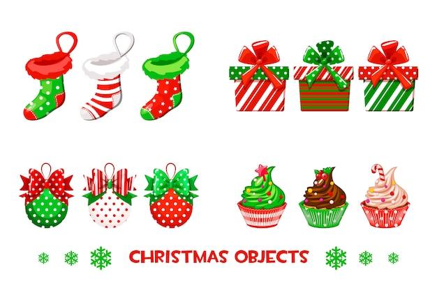 Kolekcja wektory przedmiotów dekoracyjnych na wesołe święta. czerwone i zielone skarpetki, prezenty, bale i babeczki