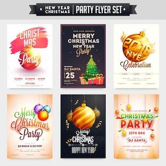Kolekcja wesołych świąt i nowego roku party celebration poster, banner lub flyer design.
